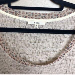 easel Tops - Easel Oatmeal Ruffle Knit Floral Hem Trim Top